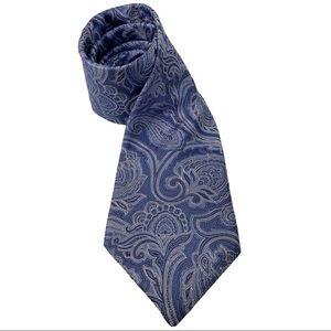 Hart Schaffner Marx Blue Paisley 100% Silk Tie